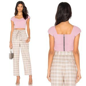 J.O.A. Just One Answer Lilac Puff Sleeve Crop Top